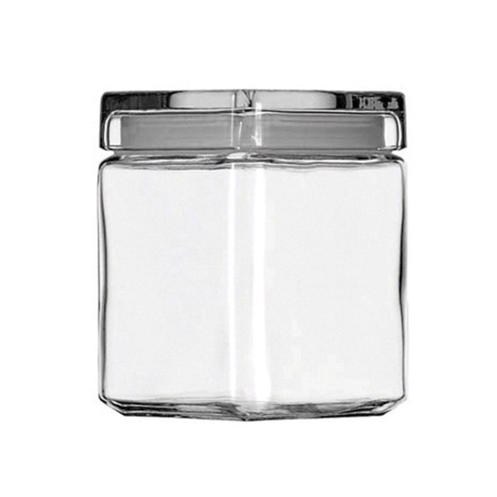 1Qt Square Stackable Glass Jar Pack of 4