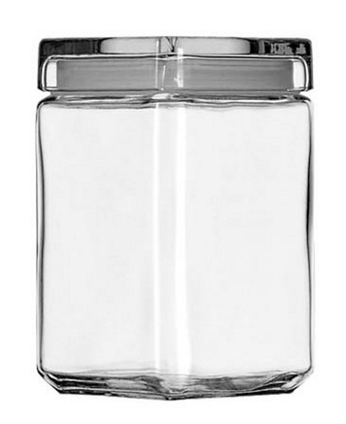 1.5Qt Square Stackable Glass Jar Pack of 4