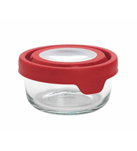 Small True Seal Round Storage Jar with Red Lid pack of 6