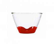 2Qt Splashproof Glass Bowl None Slip Bases Clear/Cherry
