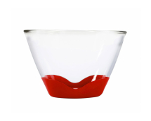 3Qt Splashproof Glass Bowl None Slip Bases Clear/Cherry