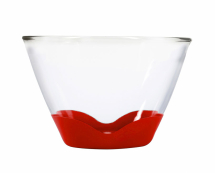 4Qt Splashproof Glass Bowl None Slip Bases Clear/Cherry
