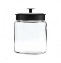 96 oz Mini Montana Glass Jar W/Black Lid Pack of 2