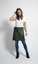Rustic Leather Long Waist Apron Green