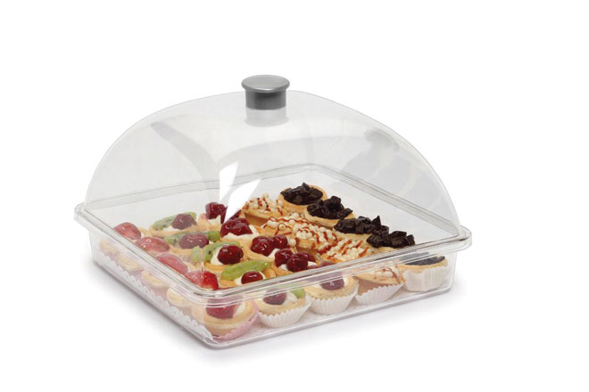 Polycarbonate Cake Cover Square Small  Lid and Tray