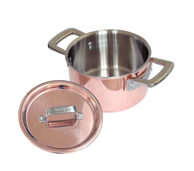 18cm Copper Tri-Ply Casserole Pan & Tri Ply Copper Lid