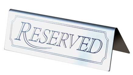 TABLE RESERVED SIGN, STAINLESS STEEL, set of 5