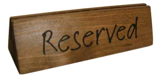 WOODEN RESERVED SIGN 3MM GROOVE PACK OF 10
