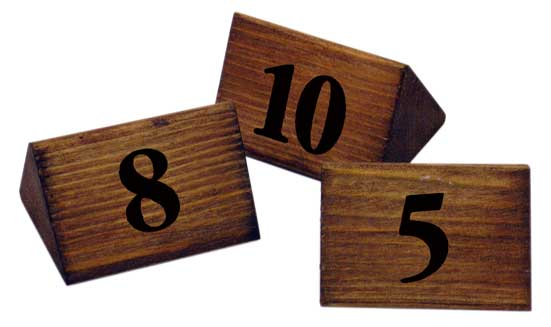 WOODEN TABLE NUMBERS 1-10 PACK OF 10