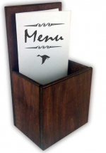 WOODEN TAKEAWAY MENU HOLDER H230 X W105 X D75MM INTERNALLY