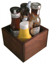 WOODEN SQUARE CONDIMENT HOLDER DARK OAK STAIN 150 X 150 100MM
