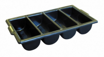 BLACK 4 COMPARTMENT CUTLERY TRAY