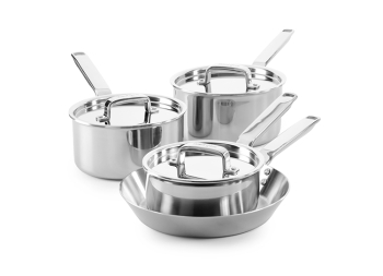 4 Piece Tri-Ply Stainless Steel Saucepan & Frying Pan Set