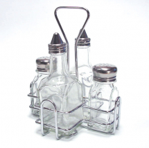 CRUET SET AND HOLDER, SINGLE